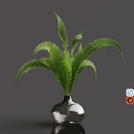 H18 gray tinted bubble glass drop vase with Fern 3d model Download  Buy 3dbrute