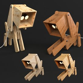 Puppy Table Lamp By 4 Wood Matrial 3d model Download  Buy 3dbrute