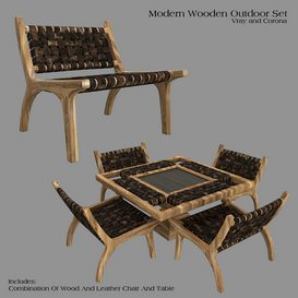 Wooden Outdoor Set 3d model Download  Buy 3dbrute