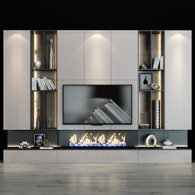 TV Wall set 0124 3d model Download  Buy 3dbrute