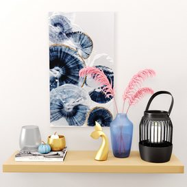 Decor Set-No4- By Gray Glass And blue Vase 3d model Download  Buy 3dbrute