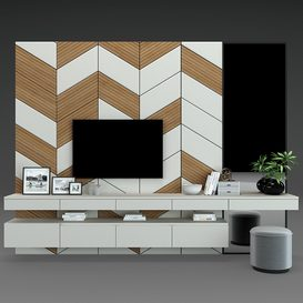 TV Wall set 58 3d model Download  Buy 3dbrute