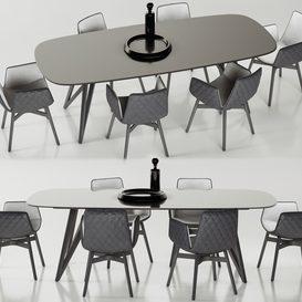 Freifrau Dining set_02 3d model Download  Buy 3dbrute