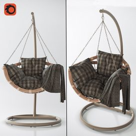 Hanging swing chair Vinotti Makadamia Brown 3d model Download  Buy 3dbrute