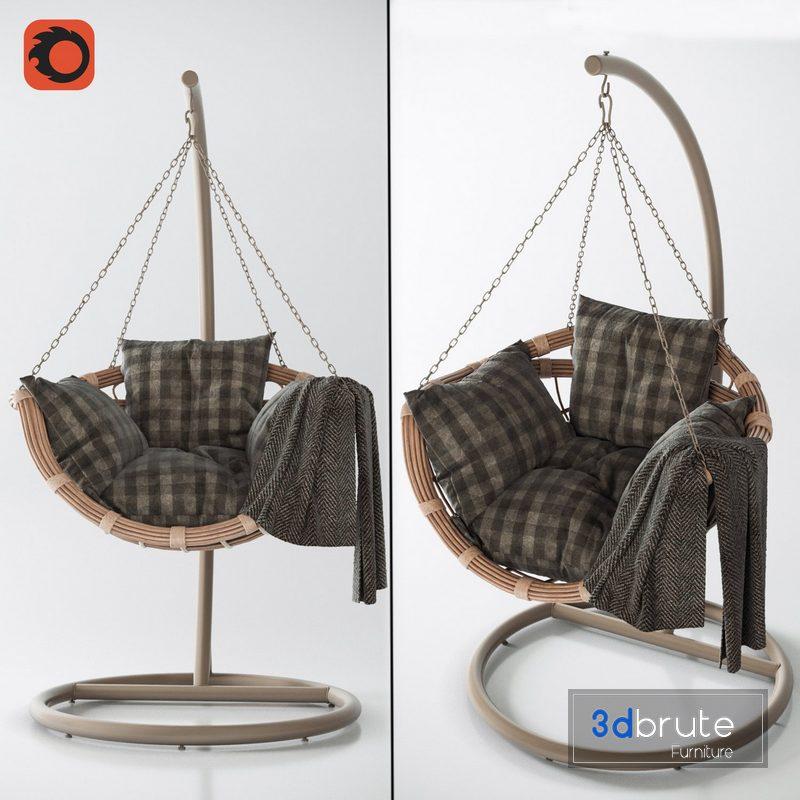 Hanging Swing Chair Vinotti Makadamia Brown 3d Model Buy Download 3dbrute