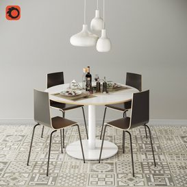 Ikea_DINING GROUP set4 3d model Download  Buy 3dbrute