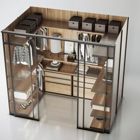 Molteni WALK-IN CLOSET WARDROBE 3d model Download  Buy 3dbrute