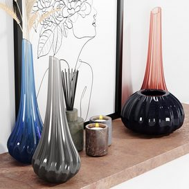 set vases-No5- By Reflex Murano glass vase 3d model Download  Buy 3dbrute