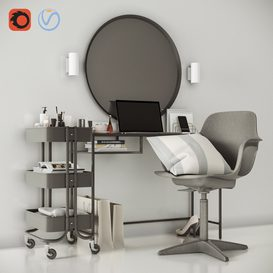 VITTSJO dressing table with ODGER chair and EASKOG cart 3d model Download  Buy 3dbrute