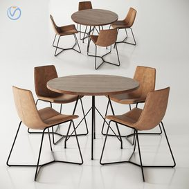 West Elm Jules Table and Slope Chairs 3d model Download  Buy 3dbrute