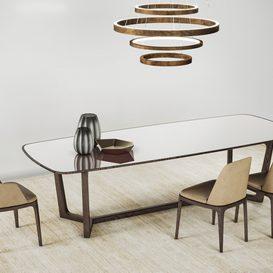 Poliform Concorde Table & Grace Chair 3d model Download  Buy 3dbrute