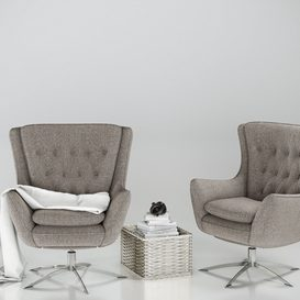 Pottery Barn Wells Armchair 3d model Download  Buy 3dbrute