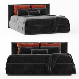 Modern black double bed LT 3d model Download  Buy 3dbrute