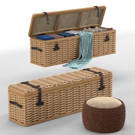 Brenna Leather Accent Woven Rattan Trunk- pouf LT 3d model Download  Buy 3dbrute