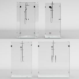 Angled glass shower cabins- designer and handle set LT 3d model Download  Buy 3dbrute