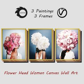 Art Frams 2- 3 Art Flower Head Woman By 3 Frams 3d model Download  Buy 3dbrute