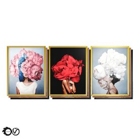 Art Frames 4- 3 Art Flower Head Woman By 3 Frames 3d model Download  Buy 3dbrute