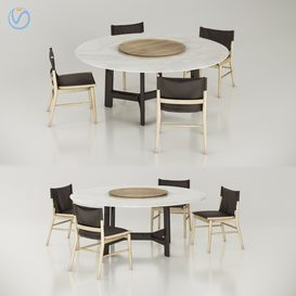 Jens chair Alex table B&B Italia 3d model Download  Buy 3dbrute