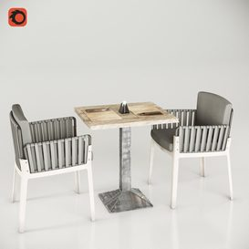 Miami chair welded table and table setting 3d model Download  Buy 3dbrute