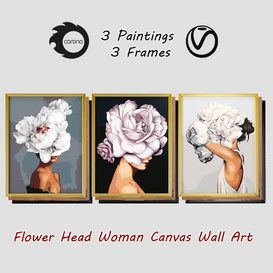 Art Frames 3- 3 Art Flower Head Woman By 3 Frames 3d model Download  Buy 3dbrute