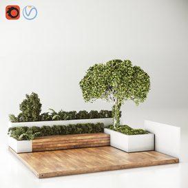 Roof Garden Furniture Seating and Garden Set 3d model Download  Buy 3dbrute