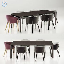Ton armchair split table trapez 3d model Download  Buy 3dbrute