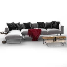 Cassina 206 8 CUBE sofa corner set 3d model Download  Buy 3dbrute