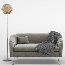 Stella Mid-Century Loveseat- Urchin Rattan Floor Lamp LT 3d model Download  Buy 3dbrute