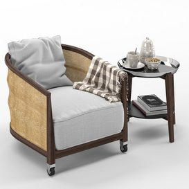 Flexform Mozart chair Cabare table LT 3d model Download  Buy 3dbrute