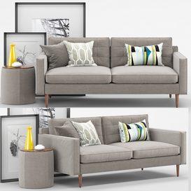 West elm - Sofa Loveseat - Drake Sofa LT 3d model Download  Buy 3dbrute