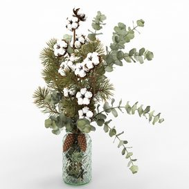 Bouquet of eucalyptus- pine and cotton in a glass vase LT 3d model Download  Buy 3dbrute