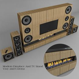 Fireplace And TV Stand Z74 3d model Download  Buy 3dbrute