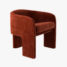 Milo baughman armchair in orange velvet Z3 3d model Download  Buy 3dbrute
