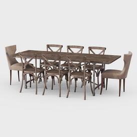 Traditional dining Set Z108 3d model Download  Buy 3dbrute