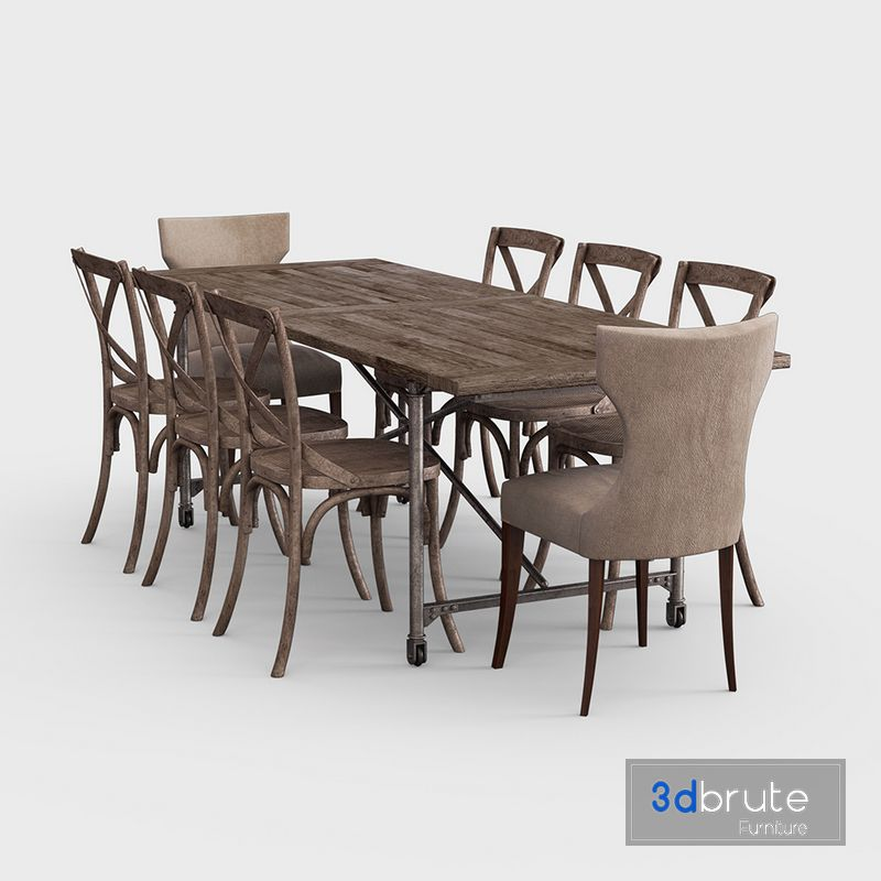 Traditional Dining Set Z108 3d Model Buy Download 3dbrute