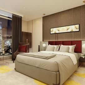 Modern style master bedroom 01 3d model Download  Buy 3dbrute