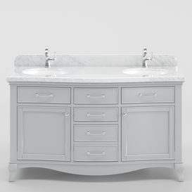 60  Double sink wooden vanity with Carrara marble top 3d model Download  Buy 3dbrute