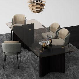 Lou Dining Table & Fil Noir Dining Chair MT 01 LT 3d model Download  Buy 3dbrute