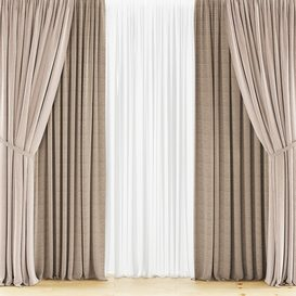 Curtains with tulle set 04 3d model Download  Buy 3dbrute