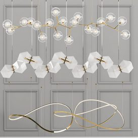 Unique Linear Chandelier - 3 type LT 3d model Download  Buy 3dbrute