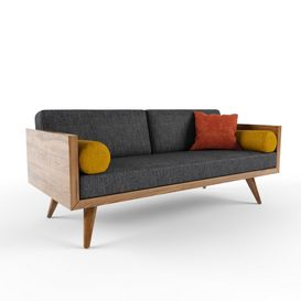 Sofa 2 Seater -Wood Frame 3d model Download  Buy 3dbrute