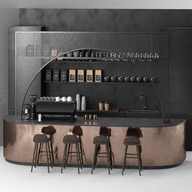 Coffee shop 001 3d model Download  Buy 3dbrute