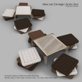 Biscuit Design Sofa Set 3d model Download  Buy 3dbrute
