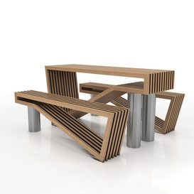 Contemporary Picnic Table Bench 3d model Download  Buy 3dbrute