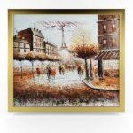 Canvas Eiffel Tower Paris Stree Oil Painting